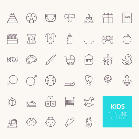Kids Outline Icons for web and mobile apps 向量圖像