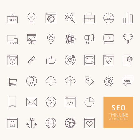SEO Outline Icons for web and mobile apps Stock Illustratie