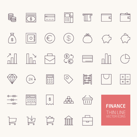 mobile apps: Finance Outline Icons for web and mobile apps