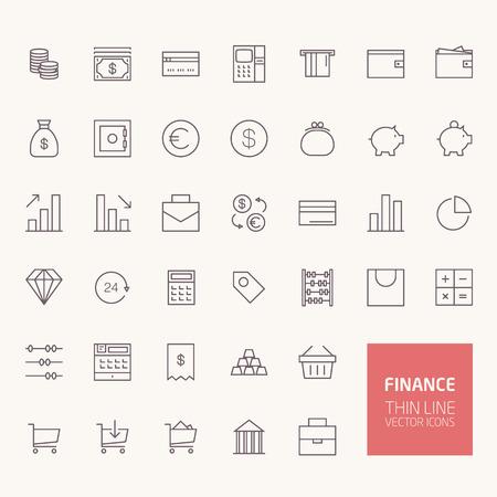 Financiën overzicht iconen voor web en mobiele apps Stockfoto - 43471848