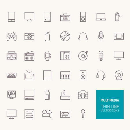 Multimedia Outline Icons for web and mobile apps Ilustracja