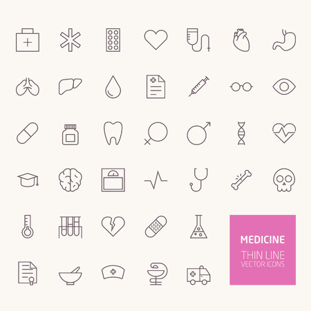 Medicine Outline Icons for web and mobile apps