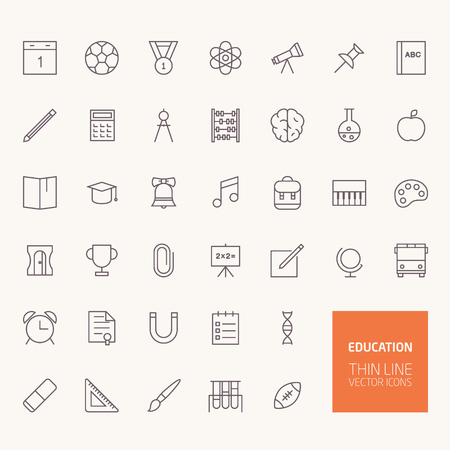 Back to School Education Outline Icons per applicazioni web e mobile Archivio Fotografico - 43472017