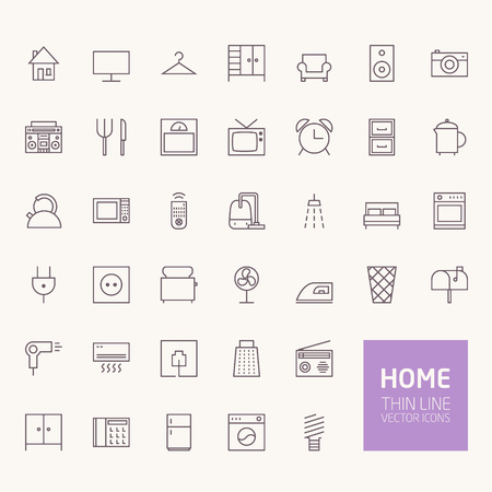 Household Outline Icons for web and mobile apps Vettoriali
