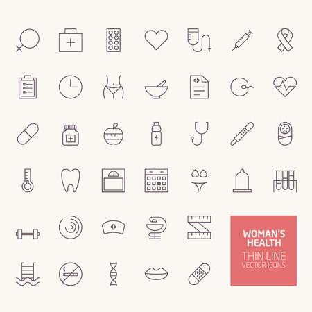 signos de pesos: Iconos del esquema de Womans de salud para web y aplicaciones móviles