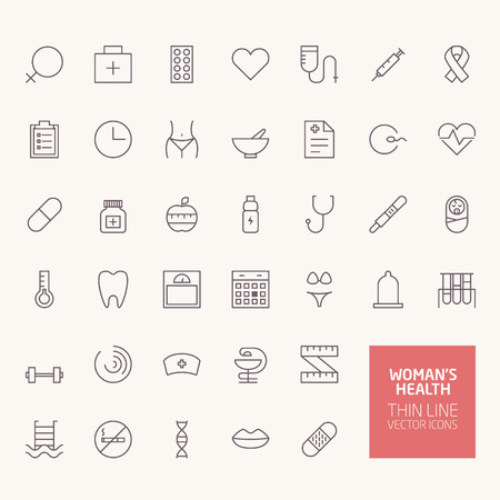 Womans Health Outline Icons for web and mobile apps 版權商用圖片 - 43948989