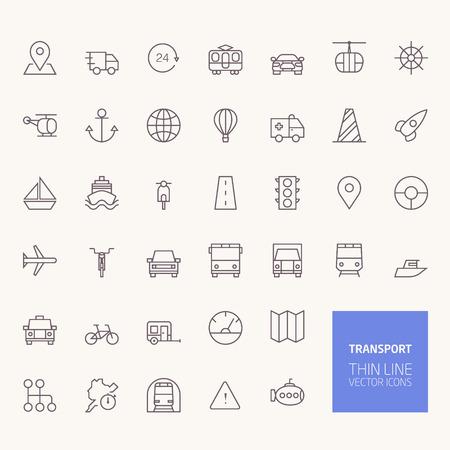 transport: Ikony transportu Outline dla stron internetowych i aplikacji mobilnych Ilustracja