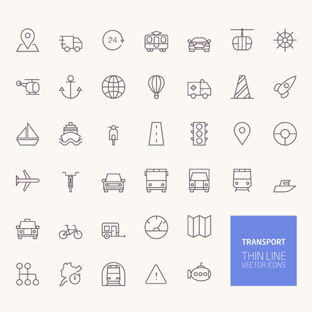 outline: Transportation Outline Icons for web and mobile apps Illustration