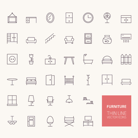 lounge room: Furniture Outline Icons for web and mobile apps Illustration