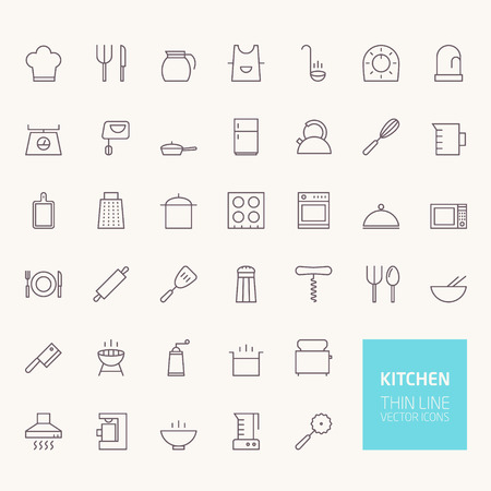 domestic kitchen: Kitchen Outline Icons for web and mobile apps