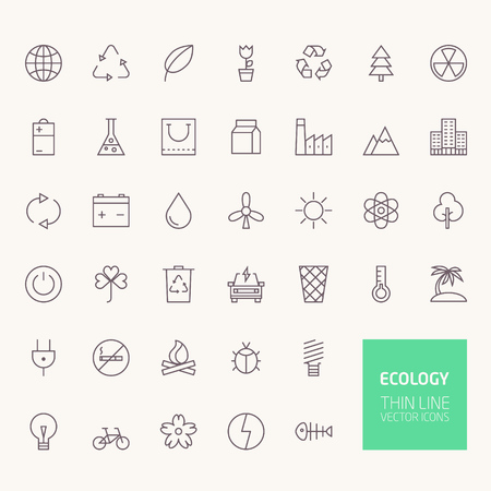 solar battery: Ecology Outline Icons for web and mobile apps Illustration