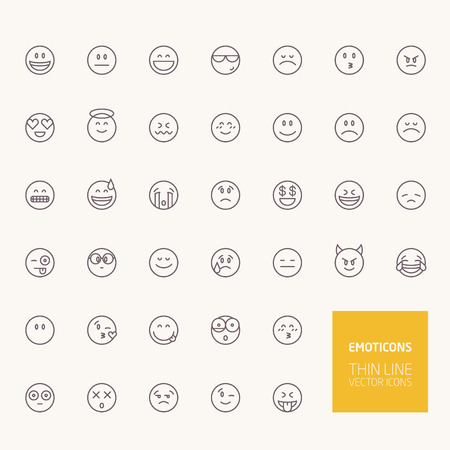 Emoticons Outline Icons for web and mobile apps Ilustracja