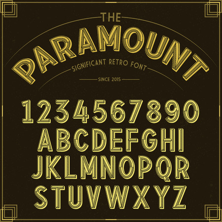 retro grunge: Vector Golden Retro Font