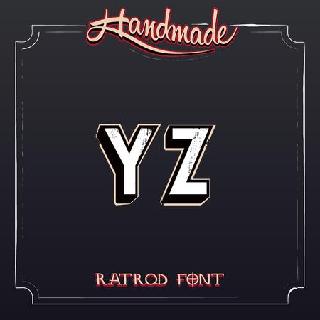 tshirt designs: Retro Vintage Label Alphabet. Vector Grunge Font from Y to Z