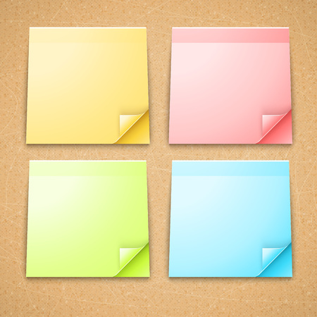 memo: 4 Colorful Stick Notes. Curled memo papers vector illustration