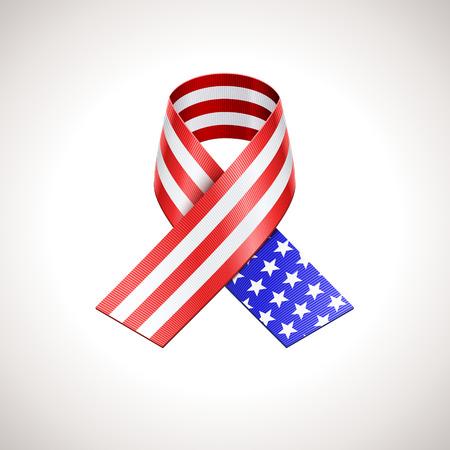 patriot: USA Flag Ribbon. Vector American Patriotic Sign