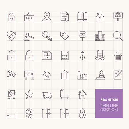 mobile apps: Real Estate Outline Icons for web and mobile apps