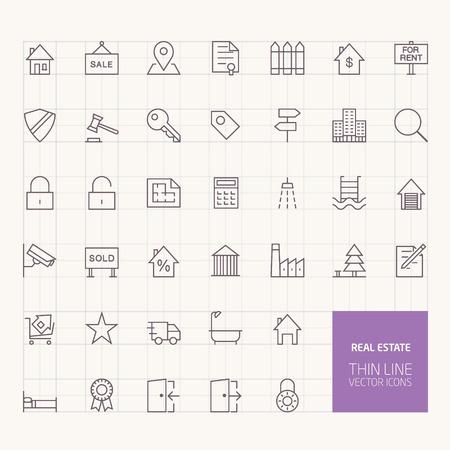 Real Estate Outline Icons voor web- en mobiele apps