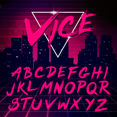 types: 80s Retro Futurism style Font. Vector Brush Stroke Alphabet