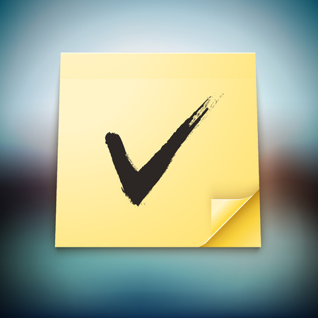 Yellow Stick Note with Tick Sign on blurred background. Completed Task vector illustration