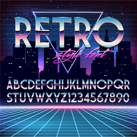 eighties: Shiny Chrome Alphabet in 80s Retro Futurism style. Vector font on cityscape background
