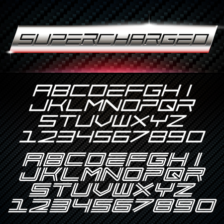 Vector Font in car emblem decal style. Two styles of Racing Alphabet on carbon background