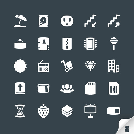clock radio: Set of Office and Media Icons