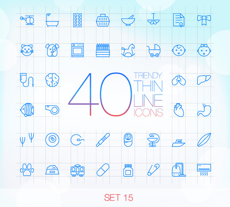 child care: 40 Trendy Thin Icons for web and mobile Set 15