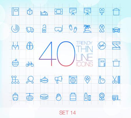 icono deportes: 40 moda Thin iconos para web y móvil Set 14