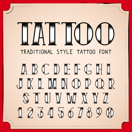 traditional: Old School Tattoo style font. Vector Traditional Ink Tattoo Alphabet