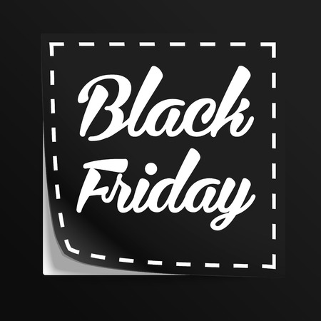 black banner: Coupon with Black Friday tag. Vector label with cut lines Illustration