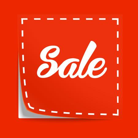Coupon met markering van de verkoop. Vector label met cut lijnen Stock Illustratie