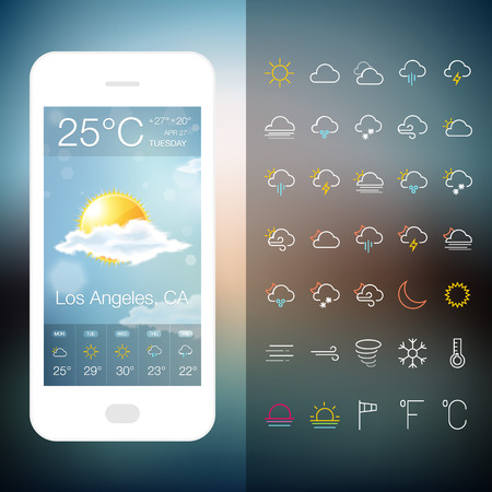 day forecast: Mobile Weather Application Screen with icon set. Vector forecast realistic design widget