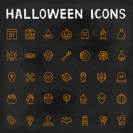 calabazas de halloween: Iconos vectoriales de Halloween Outline