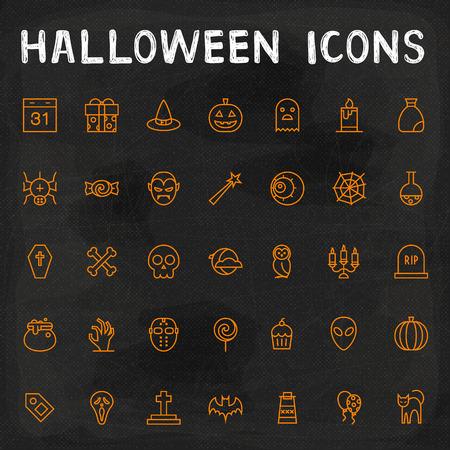 citrouille halloween: Vector Halloween Icons Outline
