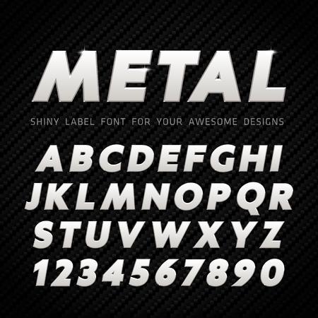 Vector Metal Font on carbon background 일러스트