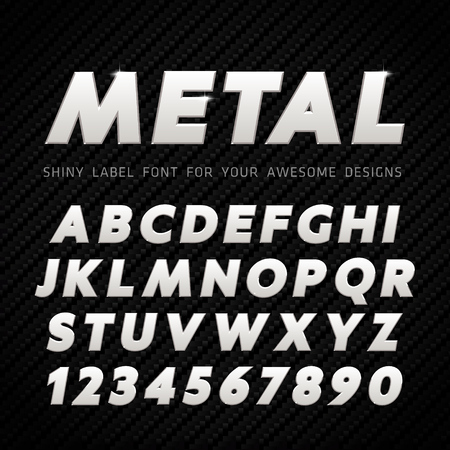 shiny metal: Vector Metal Font on carbon background Illustration