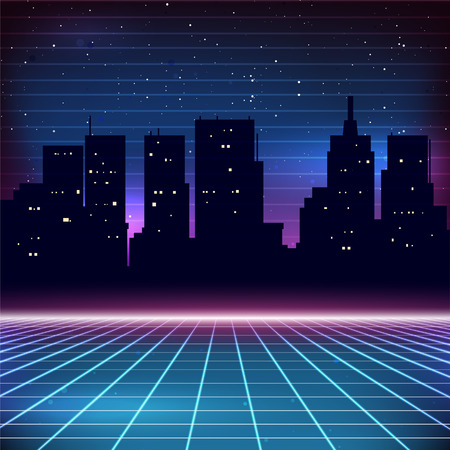 80s Retro Sci-Fi Background with city silhouette