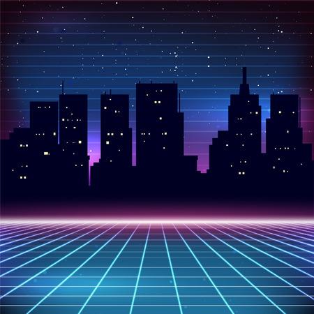 retros: Antecedentes 80s retro Sci-Fi con la silueta de la ciudad Vectores