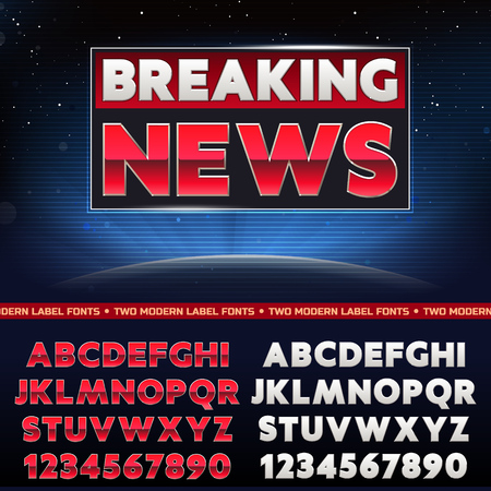 breaking news: Vector Set of Label Fonts Illustration