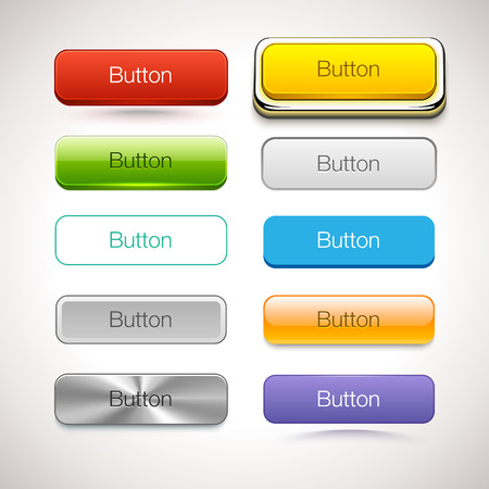green button: Vector Collection of Buttons in different style