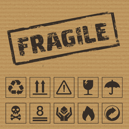 Packaging Symbols on Cardboard. Vector icons like: fragile, this side up, keep dry, recyclable etc Illusztráció