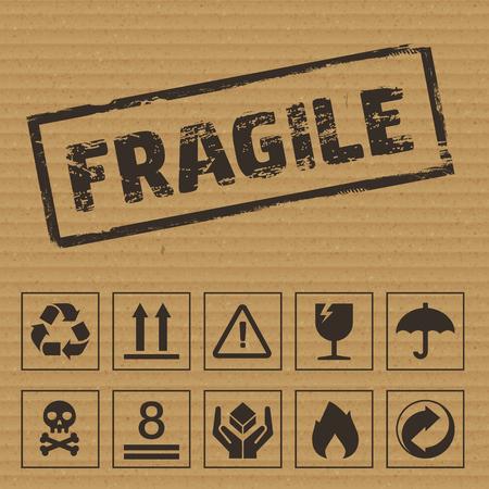 Símbolos de envasado en cartón. iconos vectoriales como: frágil, este lado hacia arriba, mantener seco, reciclable, etc. Ilustración de vector