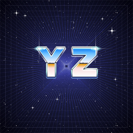 80's: 80s Retro Sci-Fi Font from Y to Z Illustration