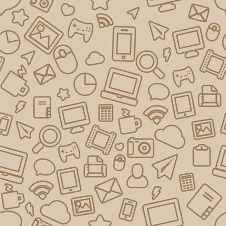 Vector pattern: Pattern liền mạch với Outline Văn phòng Icons