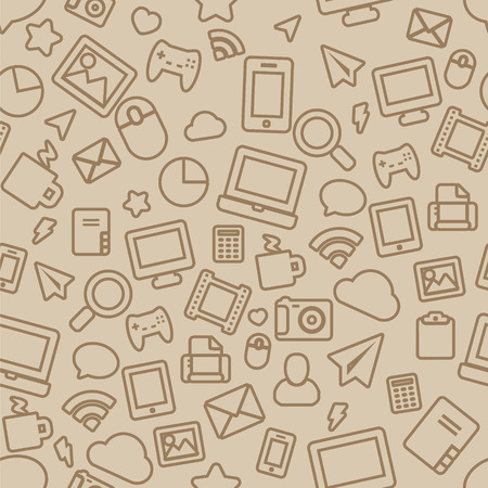Seamless Pattern with Outline Office Icons Vettoriali