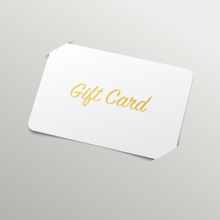 card: Gift Card with Golden Title. Vector Mockup with placeholder