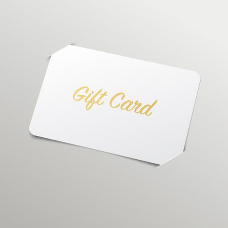 credit card: Tarjeta de regalo de oro con el título. Vector maqueta con marcador de posición Vectores