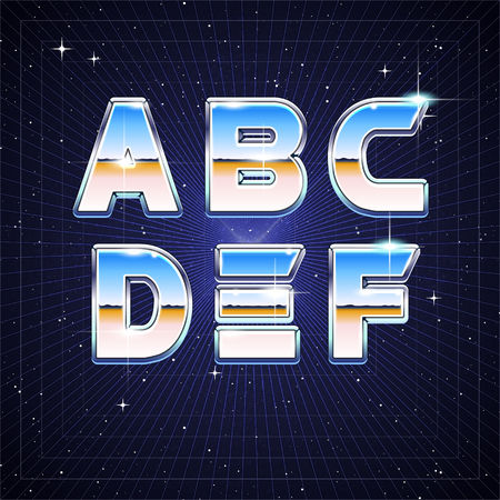 80's: 80s Retro Sci-Fi Font from A to F