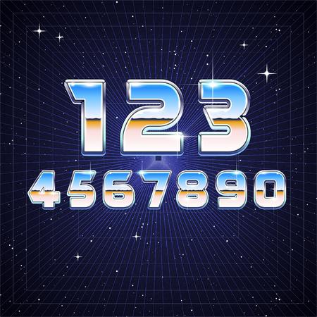 80's: 80s Retro Sci-Fi Numbers Illustration